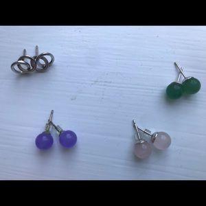 Jewelry - Lot of 4 Sterling Silver stud earrings